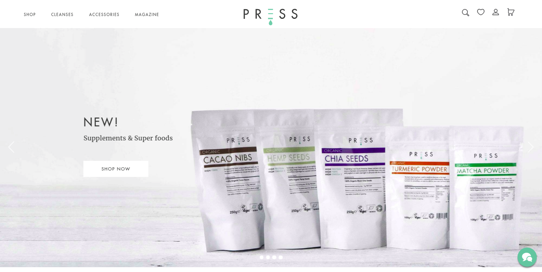 Press shopify store homepage